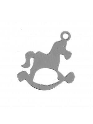 Ciondolo a forma di Cavallo a Dondolo, 12x13 mm.