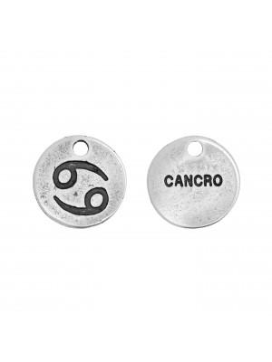 """Ciondolo segno zodiacale """"Cancro"""", colore Argento Anticato, diametro 12 mm."""