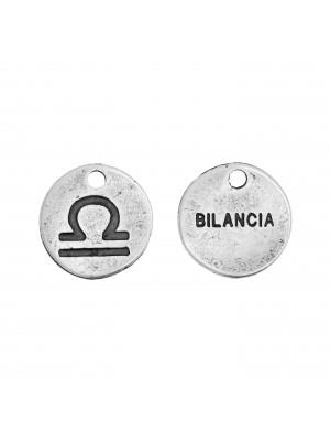 """Ciondolo segno zodiacale """"Bilancia"""", colore Argento Anticato, diametro 12 mm."""