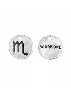 """Ciondolo segno zodiacale """"Scorpione"""", colore Argento Anticato, diametro 12 mm."""
