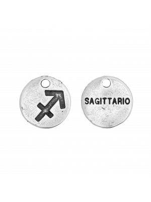 """Ciondolo segno zodiacale """"Sagittario"""", colore Argento Anticato, diametro 12 mm."""