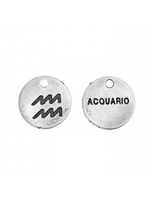 """Ciondolo segno zodiacale """"Acquario"""", colore Argento Anticato, diametro 12 mm."""