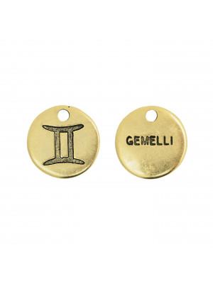 """Ciondolo segno zodiacale """"Gemelli"""", colore Oro Anticato, diametro 12 mm."""