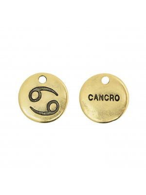 """Ciondolo segno zodiacale """"Cancro"""", colore Oro Anticato, diametro 12 mm."""