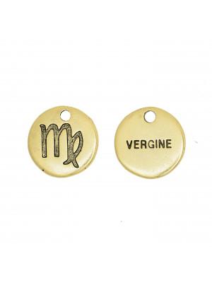 """Ciondolo segno zodiacale """"Vergine"""", colore Oro Anticato, diametro 12 mm."""