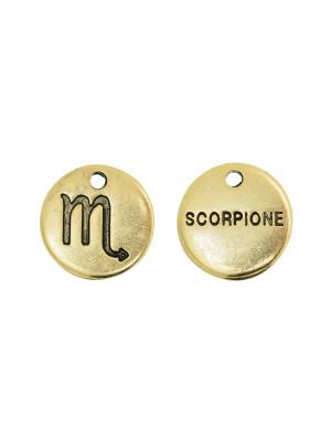 """Ciondolo segno zodiacale """"Scorpione"""", colore Oro Anticato, diametro 12 mm."""