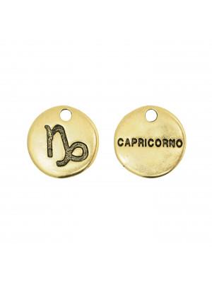 """Ciondolo segno zodiacale """"Capricorno"""", colore Oro Anticato, diametro 12 mm."""