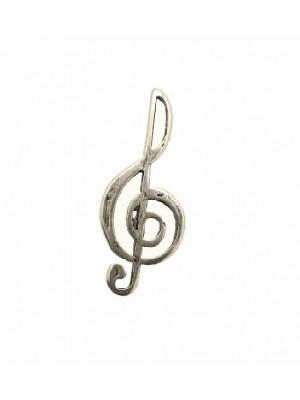 Ciondolo a forma di chiave di violino gigante, senza anello, 23x52 mm.