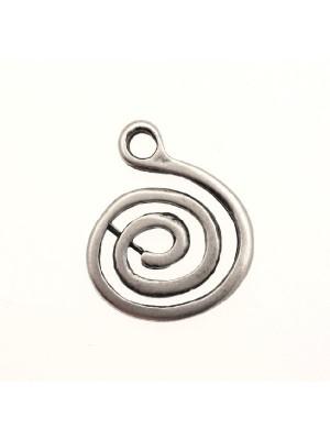 Ciondolo a forma di spirale vuota grande 25 mm.
