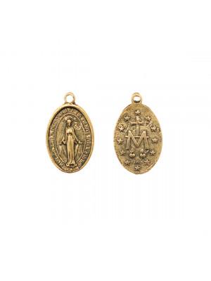 Ciondolo a forma di medaglia ovale con Madonna 13x21 mm.