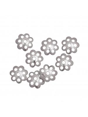 CONFEZIONE RISPARMIO - Coppetta filigranata mignon, diametro 6 mm., colore ARGENTATO RODIO