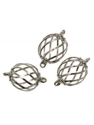 Distanziatore a forma di gabbietta ovale con sbarre ondulate, con due anelli, 14x20 mm.