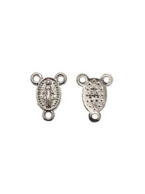 Distanziatore a forma di medaglia ovale con Madonna, con tre anelli, 11x15 mm.
