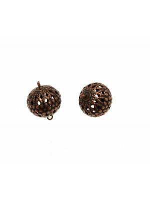 Distanziatore a forma di palla filigranata, con due anelli, 12x18 mm.