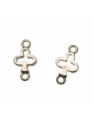Distanziatore a forma di simbolo fiori delle carte da gioco, con due anelli, 23x13 mm.
