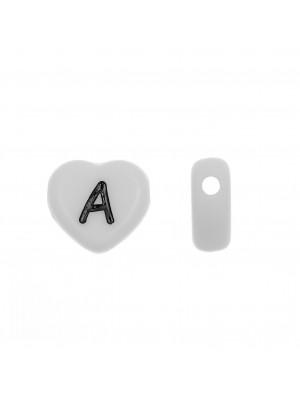 """Distanziatore a Cuore in resina con disegno lettera """"A"""", 12x11 mm."""