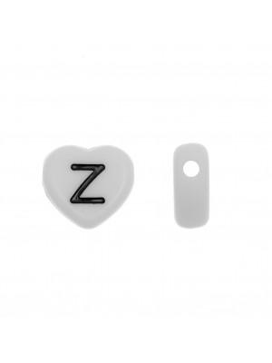 """Distanziatore a Cuore in resina con disegno lettera """"Z"""", 12x11 mm."""