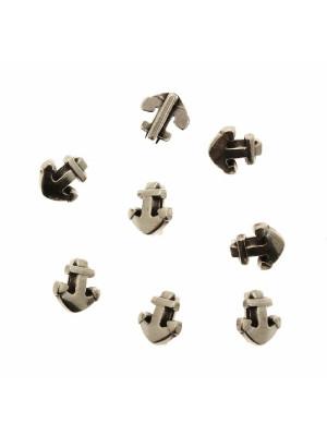 Distanziatore a forma di ancora liscia, con anello passa nastro o cordoncino, 10x9 mm.