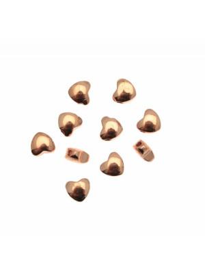 Distanziatore a forma di cuore liscio bombato, 5,8x5,4 mm.