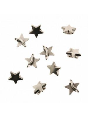 Distanziatore a forma di stella liscia, con anello passa nastro o cordoncino, 10x10 mm.