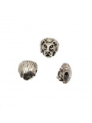 Distanziatore a forma di testa di leone tridimensionale, 11x12 mm.