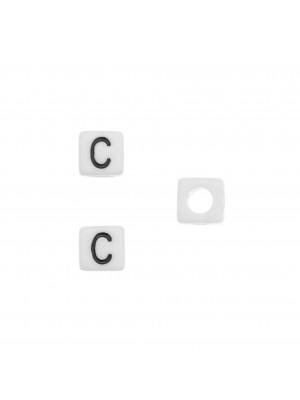"""Distanziatore quadrato in resina con disegno lettera """"C"""", 7 mm."""