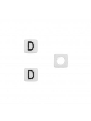 """Distanziatore quadrato in resina con disegno lettera """"D"""", 7 mm."""