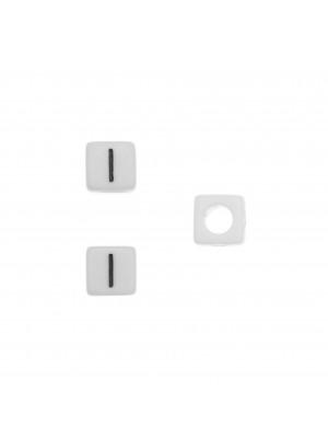 """Distanziatore quadrato in resina con disegno lettera """"I"""", 7 mm."""