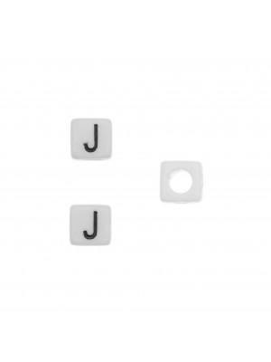 """Distanziatore quadrato in resina con disegno lettera """"J"""", 7 mm."""