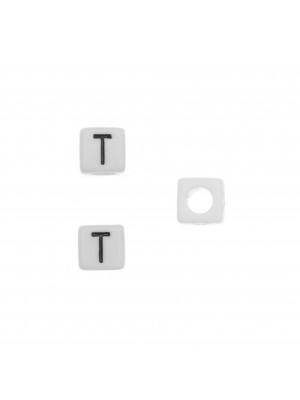 """Distanziatore quadrato in resina con disegno lettera """"T"""", 7 mm."""
