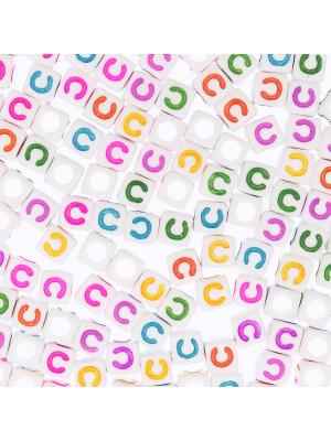 """Distanziatore a Cubo con disegno lettera """"C"""", 7mm., in resina bianca e lettera colorata"""