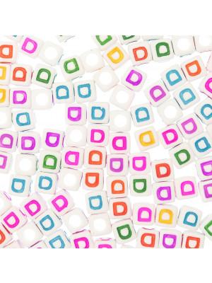 """Distanziatore a Cubo con disegno lettera """"D"""", 7mm., in resina bianca e lettera colorata"""