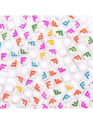 """Distanziatore a Cubo con disegno lettera """"F"""", 7mm., in resina bianca e lettera colorata"""