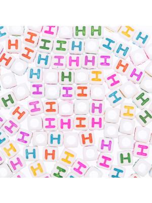 """Distanziatore a Cubo con disegno lettera """"H"""", 7mm., in resina bianca e lettera colorata"""