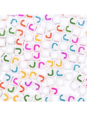 """Distanziatore a Cubo con disegno lettera """"J"""", 7mm., in resina bianca e lettera colorata"""