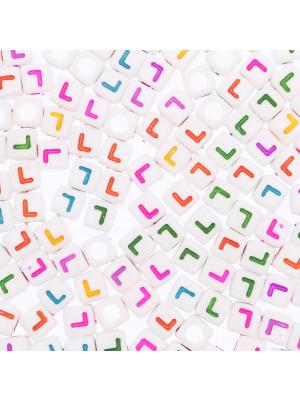"""Distanziatore a Cubo con disegno lettera """"L"""", 7mm., in resina bianca e lettera colorata"""