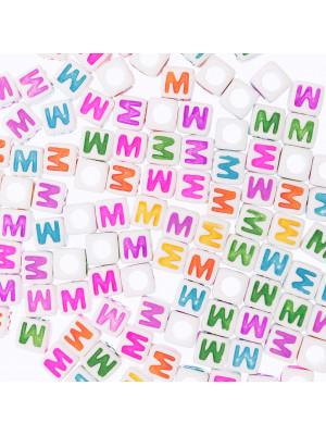 """Distanziatore a Cubo con disegno lettera """"M"""", 7mm., in resina bianca e lettera colorata"""