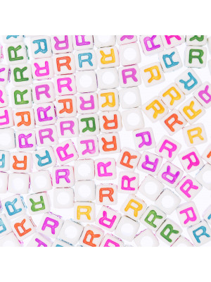"""Distanziatore a Cubo con disegno lettera """"R"""", 7mm., in resina bianca e lettera colorata"""
