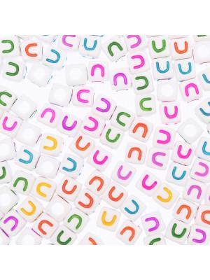 """Distanziatore a Cubo con disegno lettera """"U"""", 7mm., in resina bianca e lettera colorata"""