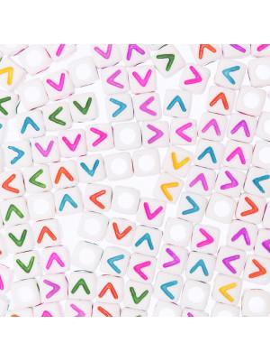 """Distanziatore a Cubo con disegno lettera """"V"""", 7mm., in resina bianca e lettera colorata"""