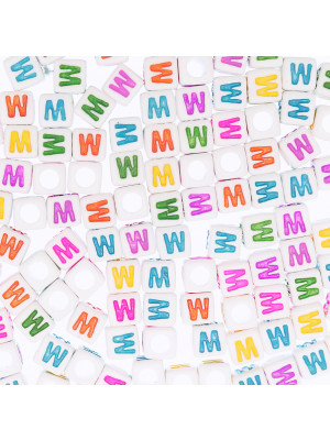 """Distanziatore a Cubo con disegno lettera """"W"""", 7mm., in resina bianca e lettera colorata"""