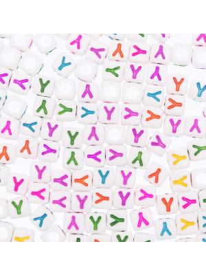 """Distanziatore a Cubo con disegno lettera """"Y"""", 7mm., in resina bianca e lettera colorata"""