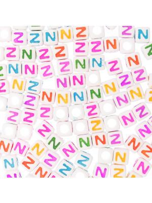 """Distanziatore a Cubo con disegno lettera """"Z"""", 7mm., in resina bianca e lettera colorata"""