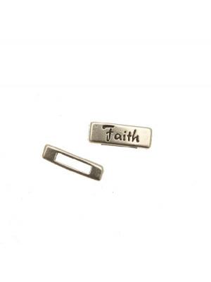 """Distanziatore rettangolare piatto liscio con scritta """"Faith"""", 18x6 mm."""