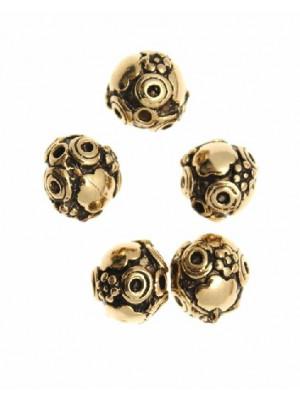 Distanziatore a palla disegnata a fiorellini, nuvolette e cerchi, 10x11 mm.