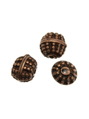 Distanziatore a palla disegnata a puntini con doppia riga liscia centrale, 10,5x12 mm.