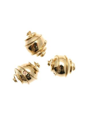 Distanziatore a palla liscia con spirale attorno, 14 mm. (dimensione foro interno 1,8 mm.)