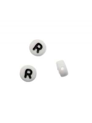 """Distanziatore in resina con disegno lettera """"R"""", 7x4 mm."""