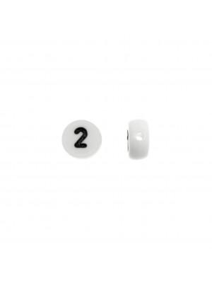 """Distanziatore in resina con disegno numero """"2"""", 7 mm."""