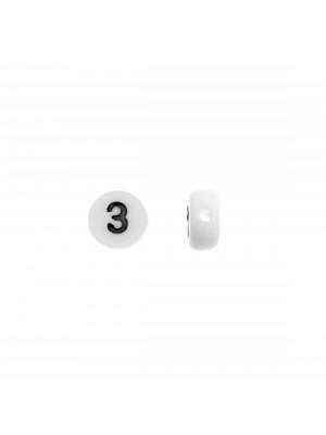 """Distanziatore in resina con disegno numero """"3"""", 7 mm."""